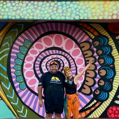 New Mural Collaboration: A unique meeting between two cultures Aboriginal Australian and Colombian